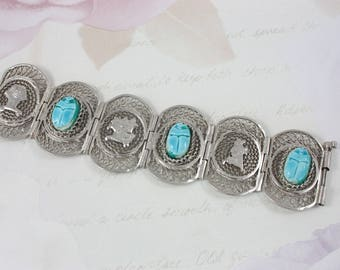 Vintage 60s Panel Bracelet, Egyptian Style Scarab Bracelet, Turquoise Ceramic Scarab Bracelet, Wide Cuff Bracelet, Filigree Bracelet
