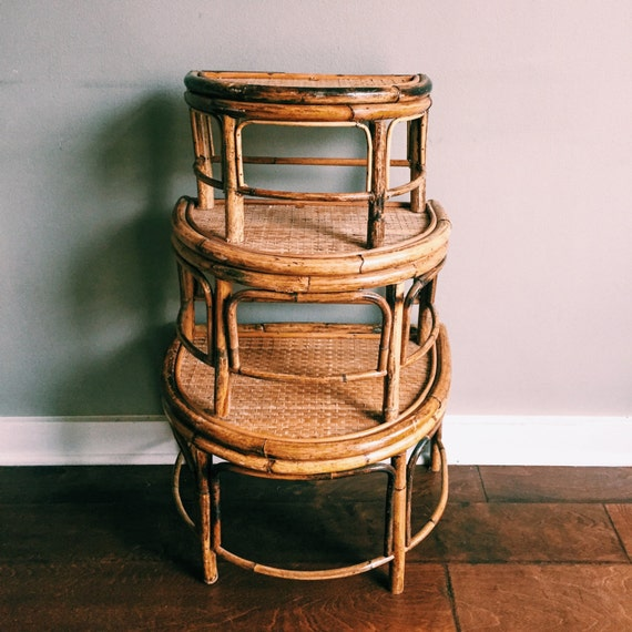 Bamboo Plant On Table: Set Of Three Vintage Nesting Bamboo Rattan Stools / Tables