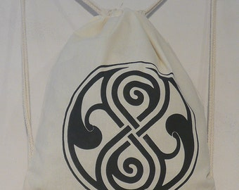 Seal of Rassilon Organic Cotton Gymsac or Tote in Black or Natural