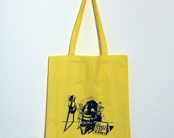 Please Plant Flowers Organic Cotton Gymsac in Natural or Tote in Yellow, Black or Natural