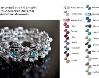 Choose Your Accent Colour -- Vintage Inspired Crystal Rhinestone and Pearl Bracelet, Bridal, Wedding (Pearl-759)