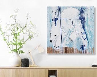 Polar Bear CANVAS, Nursery Decor, Nursery Wall Art, Arctic Nursery Kids Print, Wall Art Print, Arctic Animals, 30 X 30 poster Bears #533BR