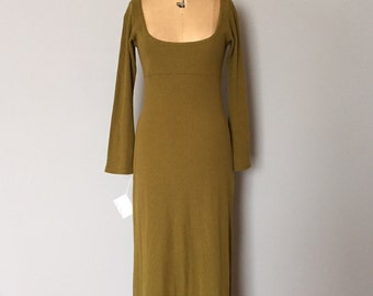 olive green knitted maxi dress | empire waist deep neckline cotton dress