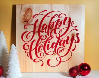 SALE! Wooden christmas sign happy holidays Christmas home decor, handwritten sign, winter theme, xmas gifts, seasonal decor, holiday gift