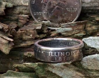 Silver Illinois quarter coin ring