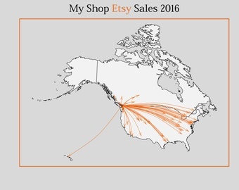 Etsy Map: Show off your Etsy Store's Sales Reach; Etsy Data Art; World Map; Personalized Business Shop Refinement/SEO- Digital Prints