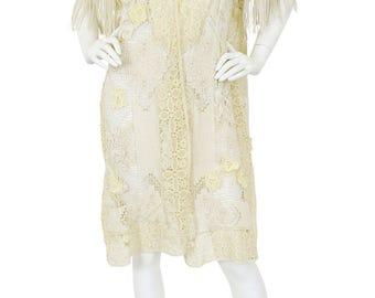 Antique 1910's Edwardian Cream Filet Floral Lace Fringe Sleeve Jacket