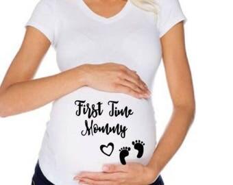 First Time Mommy Maternity Shirt| Custom Maternity Shirts| White Maternity Shirts| Black Maternity Shirts| Pregnancy Shirts| V-Neck Women's