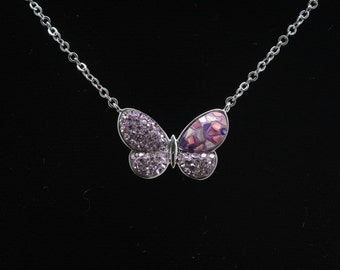 Butterfly Necklace, Swarovsky Crystals, Mother of Pearl, Polymer Clay, Light Amethyst Color, Unique Style