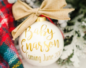 Baby Announcement Ornament, Pregnancy Ornament, Baby Ornament, Expecting Ornament, New Baby Ornament, Christmas Ornament, Baby Shower Gift