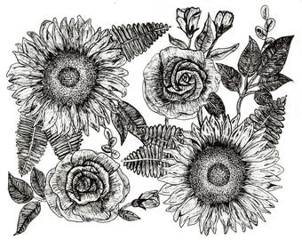 Sunflower and Rose Print
