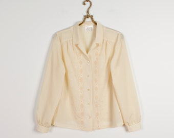 Beige Blouse Champagne Shirt Secretary's Blouse Embroidered Blouse Creamy Long Sleeves Blouse Silky Blouse Office Formal Wear Size Medium