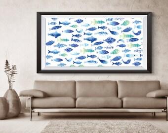 Fish abstract Print, Fish color Print, Art Print, Fish abstract Art Print, YQ