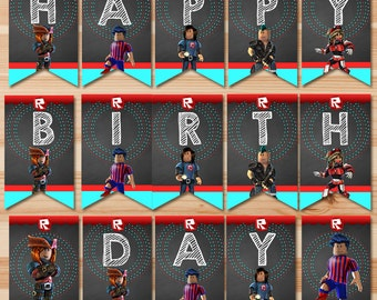 Roblox  Happy Birthday Banner - Chalkboard - Roblox Birthday Banner - Roblox Birthday Party - Roblox Party Bunting - Roblox Printable Sign