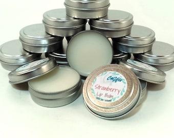 Strawberry Lip Balm - Unsweetened - Natural Lip Balm, Beeswax Lip Balm, Lip Balm Tin, Flavored Lip Balm - Preservative, Dye Free