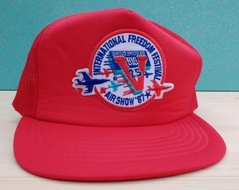 Vintage 80's 1987 Windsor-Detroit International Freedom Festival Air Show Big V Drugstores mesh snapback cheesegrater cap
