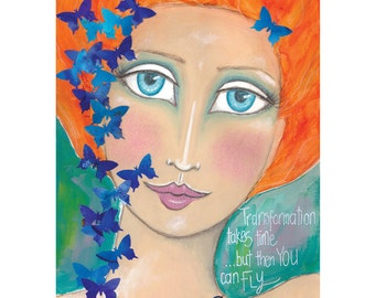 "Mixed media art, Butterfly art, Whimsical Boho art, Encouragement gift, Gift for friend, Orange themed Life quotes titled ""Transformation"""