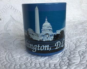 Vintage Blue Washington DC White House MUG - Black and White striped design - 80s style
