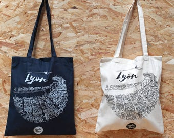 Tote Bag Lyon, Sac en toile, Sac de courses, Shopping Bag, Sac Cabas, Sérigraphie artisanale, Handmade Screenprinting