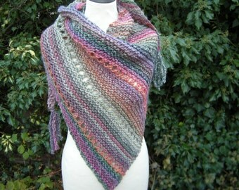 Triangle shawl hand knit scarf Colorfull coloured triangle towel