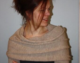 Spring clothing, Schawl with Sleeves, convertible Scarf, cream shawl, Sleeve Shrug, khaki infinity shrug, extra long scarf, fancy shawl