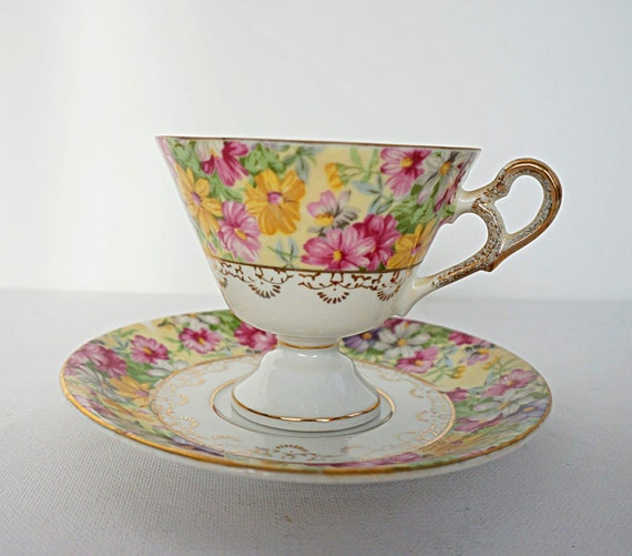Vintage Tea Cup and Saucer Spring Flowers Teacup and Saucer