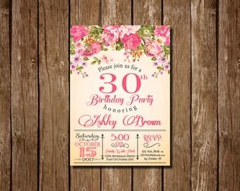 30th Birthday Invitation for women, 30th Birthday Invitation, 30th birthday for her, Floral Invitation, Women's Birthday, Floral 30 Birthday