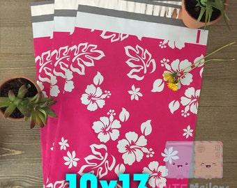 100 pcs 10x13 Hot Pink Hawaiian Poly Mailers