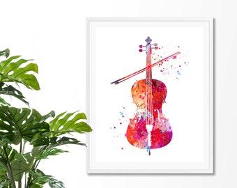 Cello 1 Fine Art Print, Poster, Wall Art, Home Decor, Kids Wall Art, Play Room Wall Art, Nursery Wall Art, Archival print