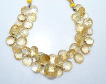 "1 Strand Citrine Faceted Heart Shape Beads - Citrine Heart Shape Briolette, 11x11 - 16x16 mm, 8"" , BL315A"