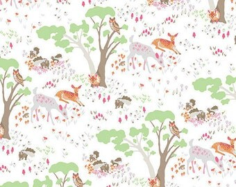 Organic cotton fabric. Clothworks woodland gathering fox owls deer forest trees woodland pink white brown gray green