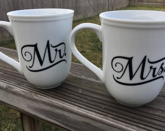 Personalized Mr. and Mrs. Coffee Mugs