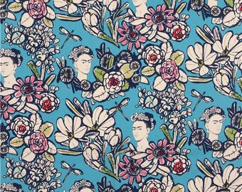 Alexandre Henry - Frida Kahlo and flowers - background blue