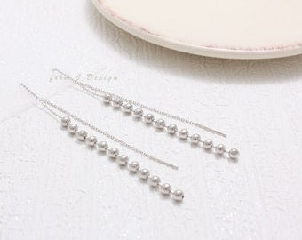 Tiny Balls with Long Chain Dangle Threader Earrings