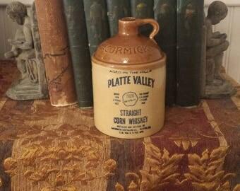Vintage STONWARE JUG, McCORMICK Platte Valley Straight Corn Whiskey JUG, 1970's Vintage Jug, Farmhouse Decor, Antique Jug