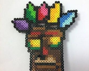 """Crash Bandicoot """"Aku Aku"""" - Mini Perler Beads"""