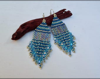 Blue Fringe Earrings | Beaded fringe | Nickel free | Seed bead Earrings | Gift for her | blue earrings | Short Earrings |