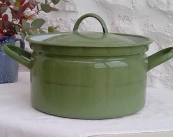 Vintage green enamel casserole saucepan with gold trim.