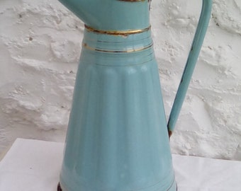 Vintage French enamel water pitcher.