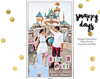 SNAPCHAT DISNEY Geofilter Vintage Disney Baby Shower | Custom Name U0026 Design  | Geofilter For Snapchat