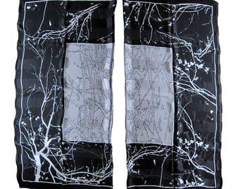 Jean Louis SCHERRER maxi shawl square scarf Pareo 133 x 130 black and white 100% silk vintage