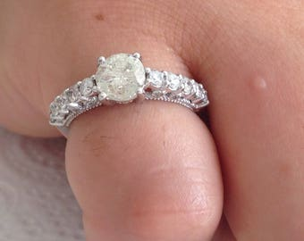 Certified 1.45 CT Round cut Diamond engagement Ring 14k white gold  hand made