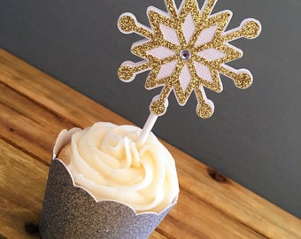 12 Glitter Snowflake Cupcake Toppers, Snowflake Cake Topper, Snowflake Baby Shower, Holiday Party, Snowflake Birthday, Winter Onederland