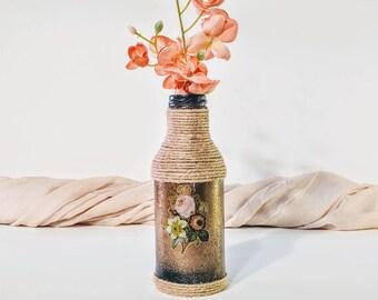 Vintage vase/ Flower vase/ Floral vase/ Rustic vase/ Gold vase/ Shabby chic vase/ Vintage gold vase/ Upcycled bottle/ Handmade twine vase