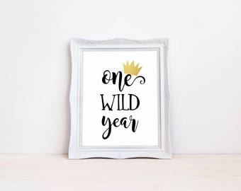 "One Wild Year 8""x10"" First Birthday Party Printable Sign 