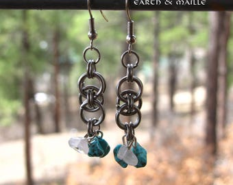 Helm Chainmail Earrings Turquoise and Quartz Chips, Helm Chain Earrings, Chainmaille Earrings