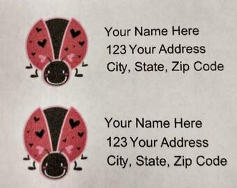 30 Lady Bug Return Address Labels