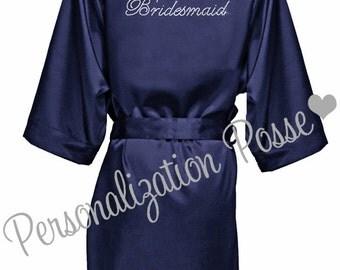 Bridesmaid Robe, Bridal Party Robe, Wedding Party Robe, Satin Kimono Bridal Robe, Plus Size Robe, Rhinestone Embellished Navy Robe
