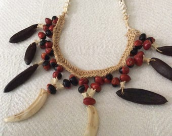 natural long necklace, fish vertebrae, coffee beans, jute, seed pods, tribal