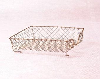 basket of office vintage metal copper wire, storage bin office, put paper